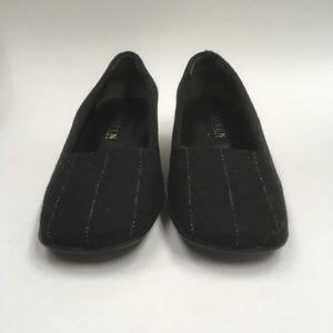 Lauren RL Womans Black Pin Stripe Low heel (0017)